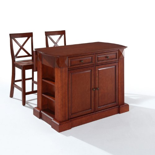 Crosley Furniture Drop Leaf Breakfast Bar Top Kitchen Island 24-Inch X-Back Stools at Sears.com