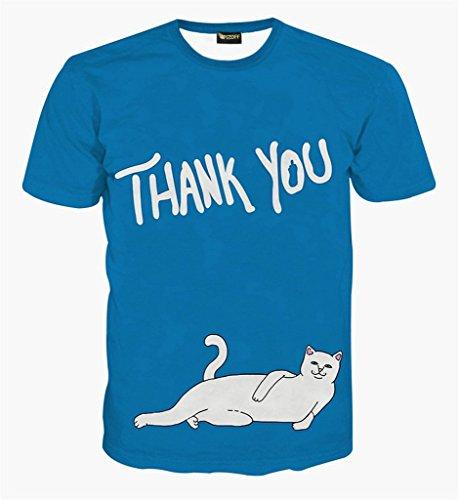 (ピゾフ)Pizoff メンズ Tシャツ 半袖 ブルー 猫柄 おもしろ 3Dプリント オリジナル モード系 ストリート ファッション ヒップホップスタイル 快適 男女兼用 トップス 夏物 Y1625-77-L