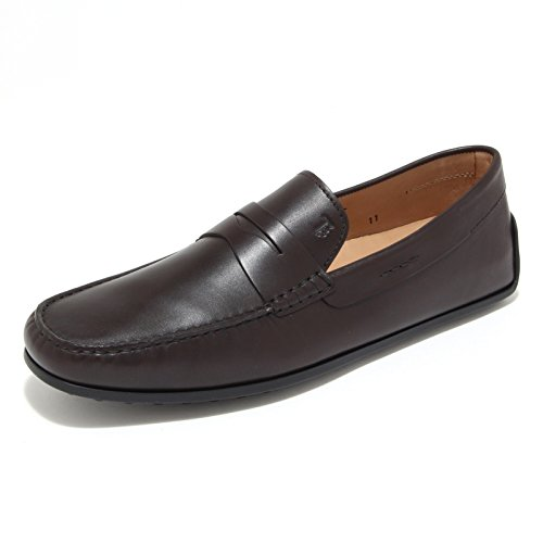 0633M mocassini uomo marroni TOD'S gomma scarpe loafers shoes men [6.5]