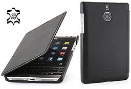 StilGut Book Type, Genuine Leather Case for BlackBerry Passport Silver Edition, Black Nappa