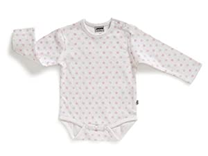 Jacky niña body con manga larga, Girls Dream, blanco con estrellas de color rosa y gris,152428