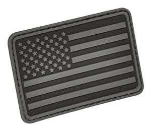 Hazard 4 US Flag Rubber 3D Velcro Morale Patch, Left Arm, Black/Grey