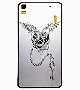 ColourCraft Heart and Key Design Back Case Cover for LENOVO A7000