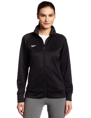 Speedo Womens Female Sonic Warm-Up Jacket, Black, Medium