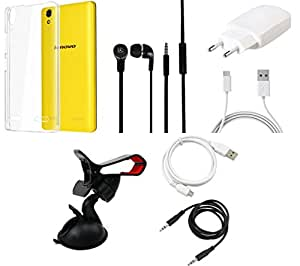 NIROSHA Cover Charger Headphone / Hands Free USB Cable Car Holder for Lenovo A6000 - Combo