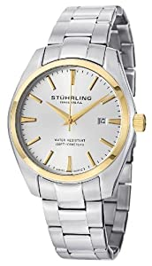 Stuhrling Original Men's 414.33312 Classic Ascot Prime Stainless Steel Bracelet Watch with Gold-Tone Bezel