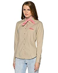 Stylish Beige Shirt with Complimentary Scarf