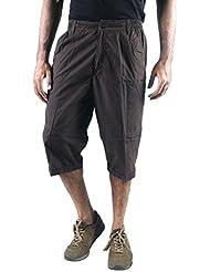 0-Degree Shorts 3by4 Knee Length Three Fourth Capri Men Chinos Classic Cotton Bermuda Grey 30