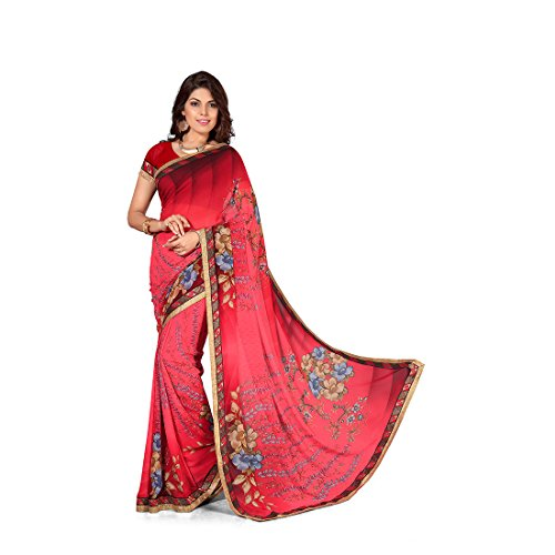 Anusha Light Red Georgette Self Printed With Attached Border Saree