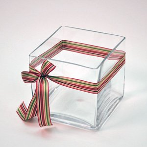 "Candles4Less - Bulk 12 Pieces 5"" Clear Glass Square Vase ( Case of 12)"