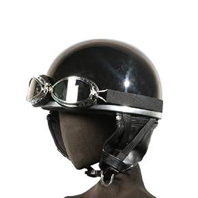 [ バイクパーツセンター ] ヘルメット 半帽(ゴーグル付)ブラック KC-012E [ サイズ ] 57~59cm未満 [ 品番 ] 7401