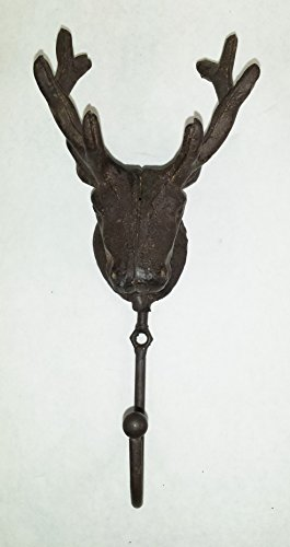 Aunt Chris' Products - Cast Iron Deer Head Single Hook - Wall Hung - Old Rustic Color Finish - Use Indoor Or Outdoor (Whale Teapot compare prices)