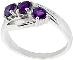 Exotic India Faceted Triple Amethyst Ring - Sterling Silver Ring Size 5