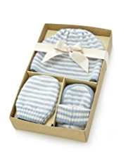 3 Piece Pure Cashmere Beanie Hat, Booties & Mittens Set in Gift Box