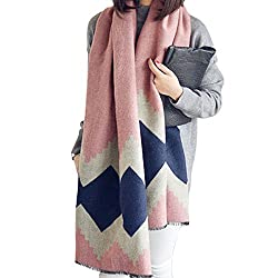 Mily womens Fashion Long Shawl Winter Warm assorted colors Large Imitation Cashmere Scarf Pink