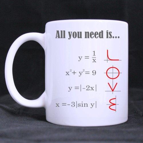 """Smart matematica, motivo: """"All you need is LOVE""""-Tazza da caffè in ceramica, colore: bianco, 11 g), motivo: tazze da tè, idea regalo per compleanno, Natale e Anno Nuovo"""