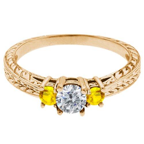 0.56 Ct Round G/H Diamond Yellow Sapphire 18K Yellow Gold 3-Stone Ring