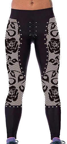 PEGGYNCO Womens Gothic Rose Lace Metal Studs Detail Gym Yoga Capris One Size