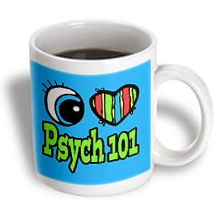 3Drose Mug_106434_1 Bright Eye Heart I Love Psych 101 Ceramic Mug, 11-Ounce