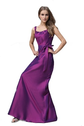 Winey Bridal Women's Long Taffeta Sash Bridesmaid Party Dress