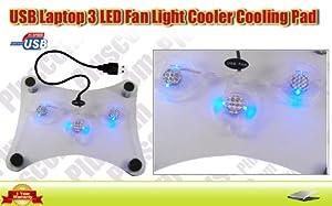 3 Ventilateur Base pour PC Portable Lumiere Bleu LAPTOP