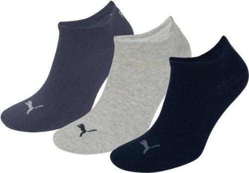 Puma Invisible, Calzini Sport Uomo, Blu (Grey/Nightshadow Blue), 43/46 , Confezione da 3