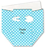 Aqua Gingham Diaper Thank-you Cards - Set of 10