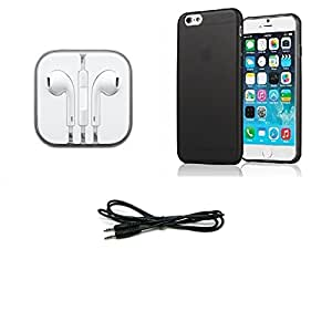 High Quality Black Transparent Back Cover, Head Phone, Aux Cable for Apple iPhone / Apple iPhone 6+ Pack of 3