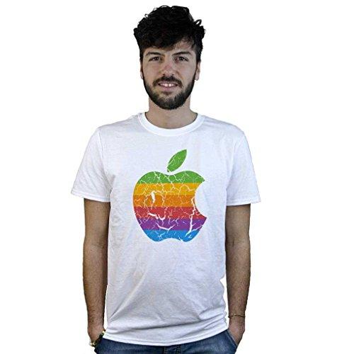 T-Shirt mela vintage Apple, maglietta bianca con logo ad effetto rovinato