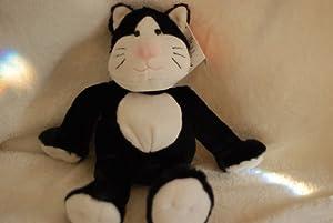 Super Soft Black and White Stuffed Kitty Cat