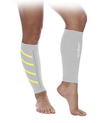Gabor Fitness Graduated 20-25mm Hg Compression Running Leg Sleeves, Medium, White