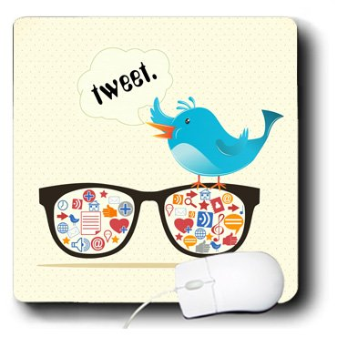 3dRose LLC 8 X 8 X 0.25 Inches Geek Social Media Sunglasses with Icons and Twitter Bird Mouse Pad (mp_104484_1)