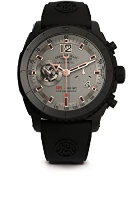 Armand Nicolet Men's Automatic Watch with Grey Dial Chronograph Display and Black Rubber Strap A714AQN-GS-GG4710N