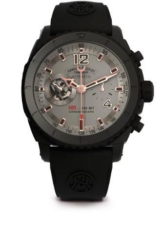 armand-nicolet-herren-armbanduhr-automatik-mit-grau-zifferblatt-chronograph-anzeige-und-schwarz-rubb
