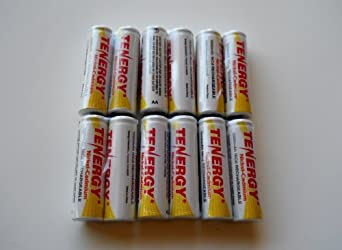 12 Pack AA NiCd 1000 mAh 1.2 V Rechargeable Batteries by Tenergy