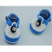 White With Light Blue Wool Hand-knit Baby Shoes Baby Toddler Soft Soled Baby Shoes Double Sole One Hundred Days...