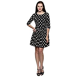 PRAKUM Women's Cotton Regular Fit Dress Black Cream (Medium)