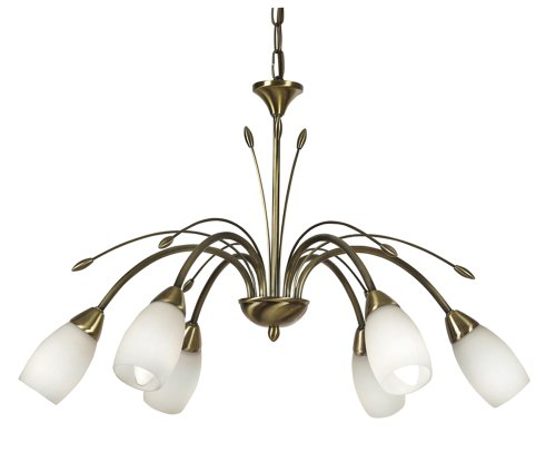 Antwerp ceiling  fitting in antique brass finish complete with opal glass shades. Duel purpose for use with chain or as flush  mounted.