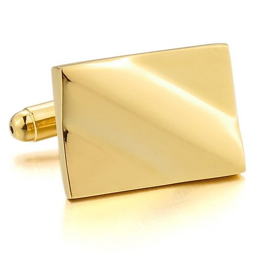 Justeel Men Rhodium Plated Cufflinks Gold Square Shirt Wedding , with Gift Box, (Width x Length: 0.55 x 0.75 inches)