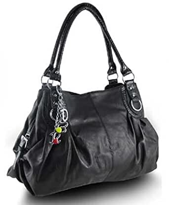 Large Charm Hobo Handbag (Basic Black)