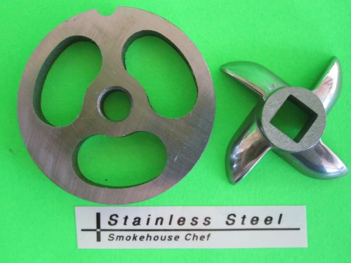 #5 Set Sausage Stuffer Plate And Knife For Meat Grinder Plate Disc For Chefs Choice, Kitchenaid, Lem Cabelas & Others