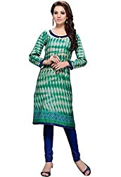 JCM Krishriyaa Green Printed Cotton Straight Kurti With L size