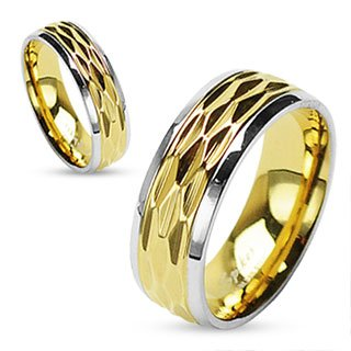 STR-0051-Stainless-Steel-Gold-IP-Dia-Cut-Center-Shiny-Finish-Steel-Edges-Ring-Comes-With-Free-Gift-Box