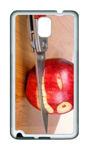 Samsung Galaxy Note 3 N9000 Case,Mokshop Adorable Funny Apple Knife Soft Case Protective Shell Cell Phone Cover For Samsung Galaxy Note 3 N9000 - Tpu White