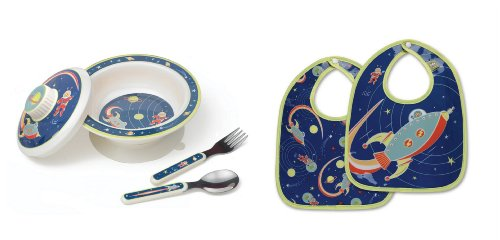 Sugarbooger Covered Bowl, Silverware, and 2 Bibs Set-Outerspace