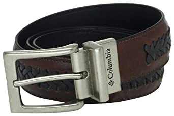 Columbia Men's 35mm Genuine Reversible Leather Laced Belt,Brown/Black,36
