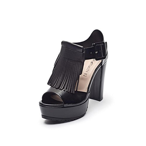 Tipe e Tacchi / sandali con tacco donna colore abrasivato nero/pelle capra nero