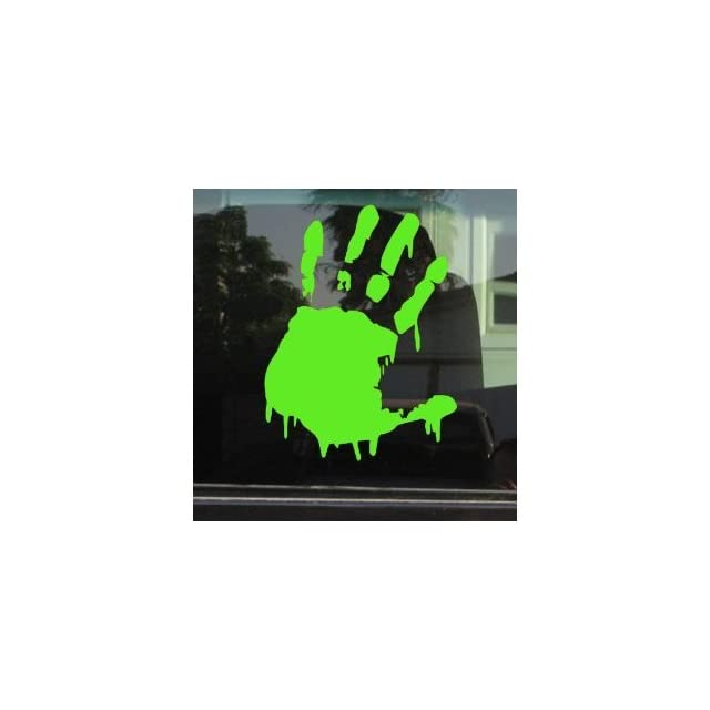 BLOODY ZOMBIE HAND PRINT(Left Hand)   5 LIME GREEN   Vinyl Decal WINDOW Sticker   NOTEBOOK, LAPTOP, WALL, WINDOWS, ETC.