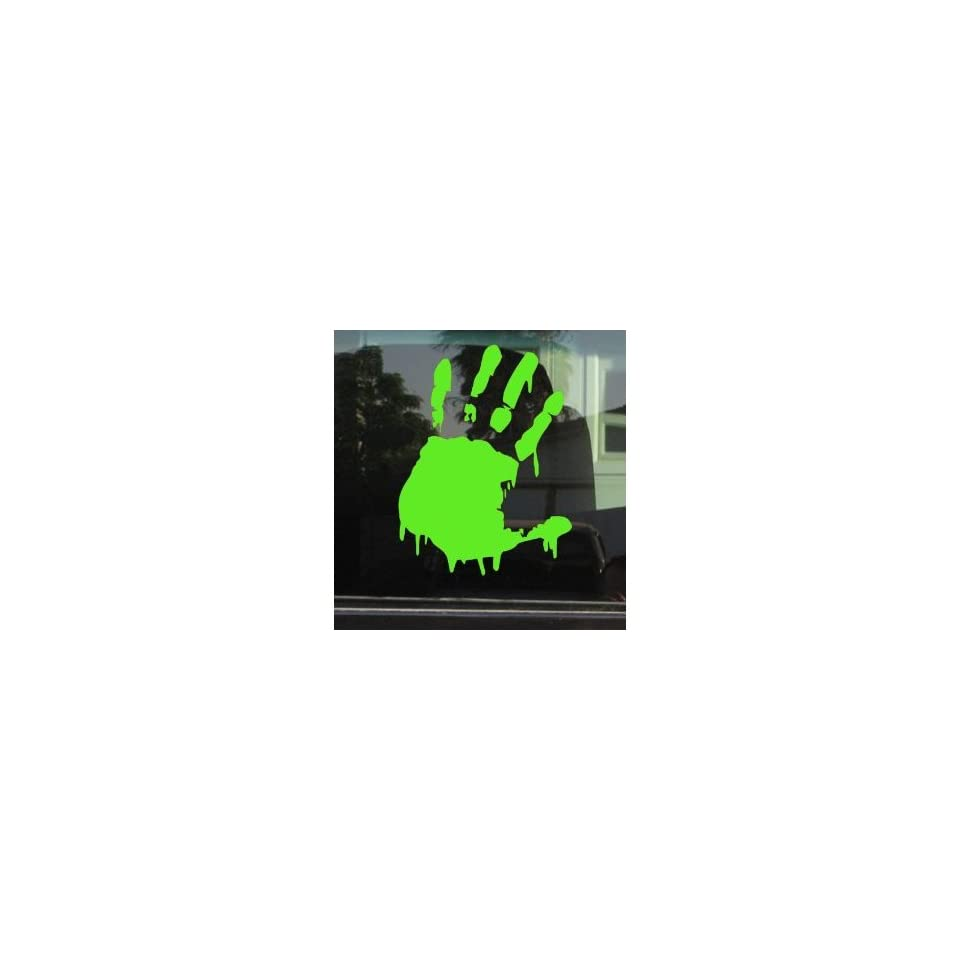 BLOODY ZOMBIE HAND PRINT(Left Hand)   5 LIME GREEN   Vinyl Decal WINDOW Sticker   NOTEBOOK, LAPTOP, WALL, WINDOWS, ETC.