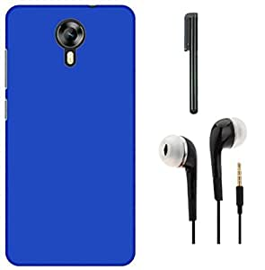 Tidel Stylish Rubberized Plastic Back Cover For Meizu M2 ( Blue ) With 3.5mm Handsfree Earphone & Stylus